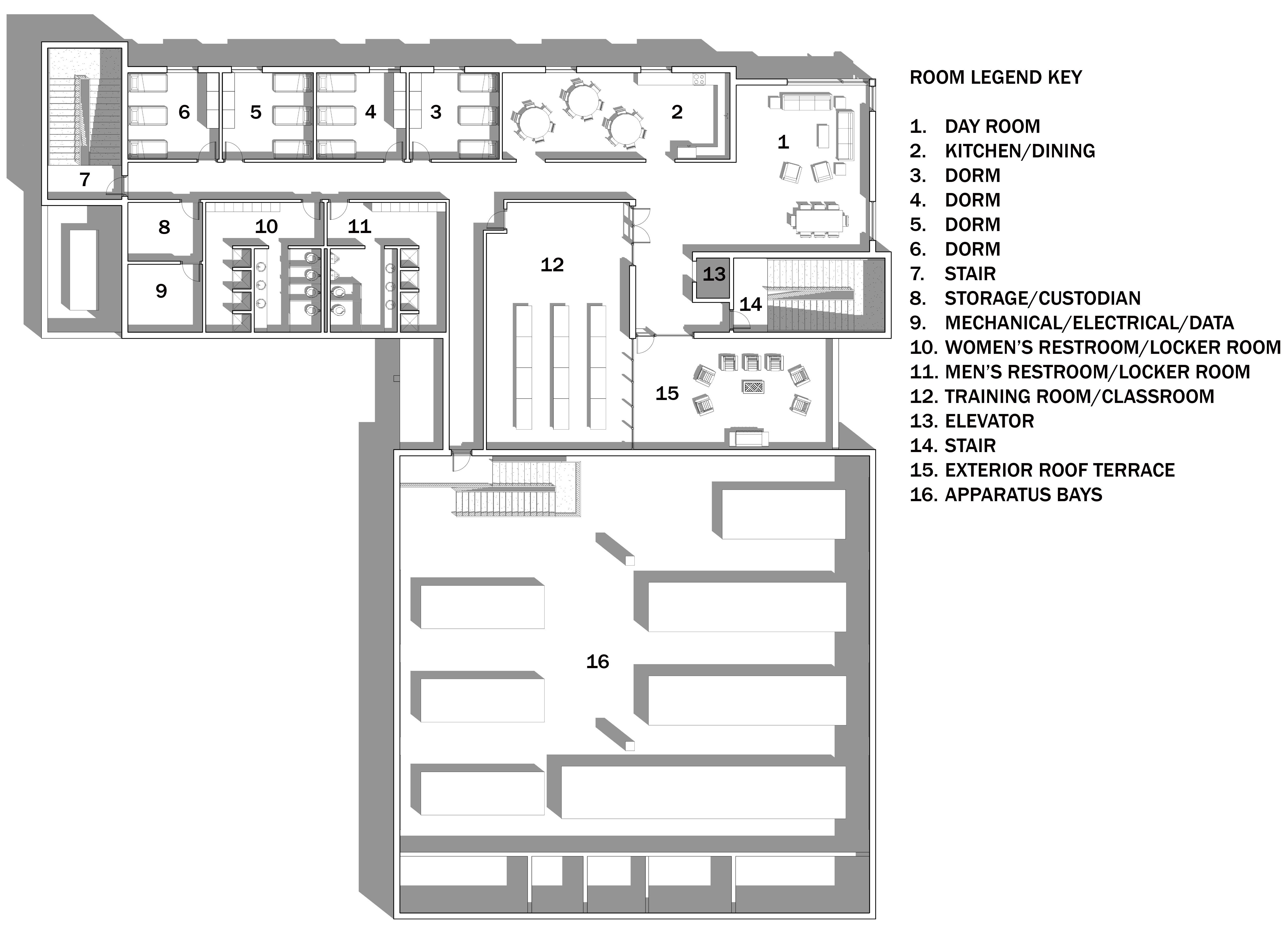 Bild architects fire station conceptual design for Design floor plan